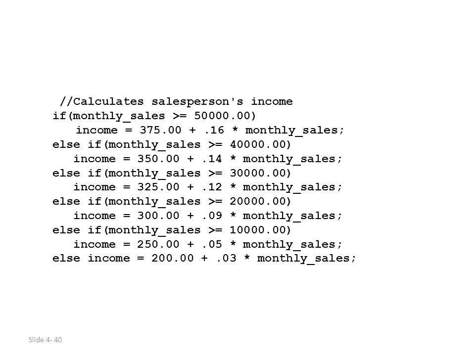 //Calculates salesperson s income