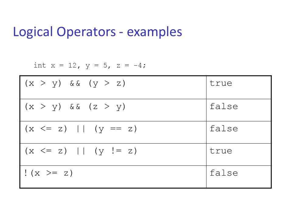 Logical Operators - examples