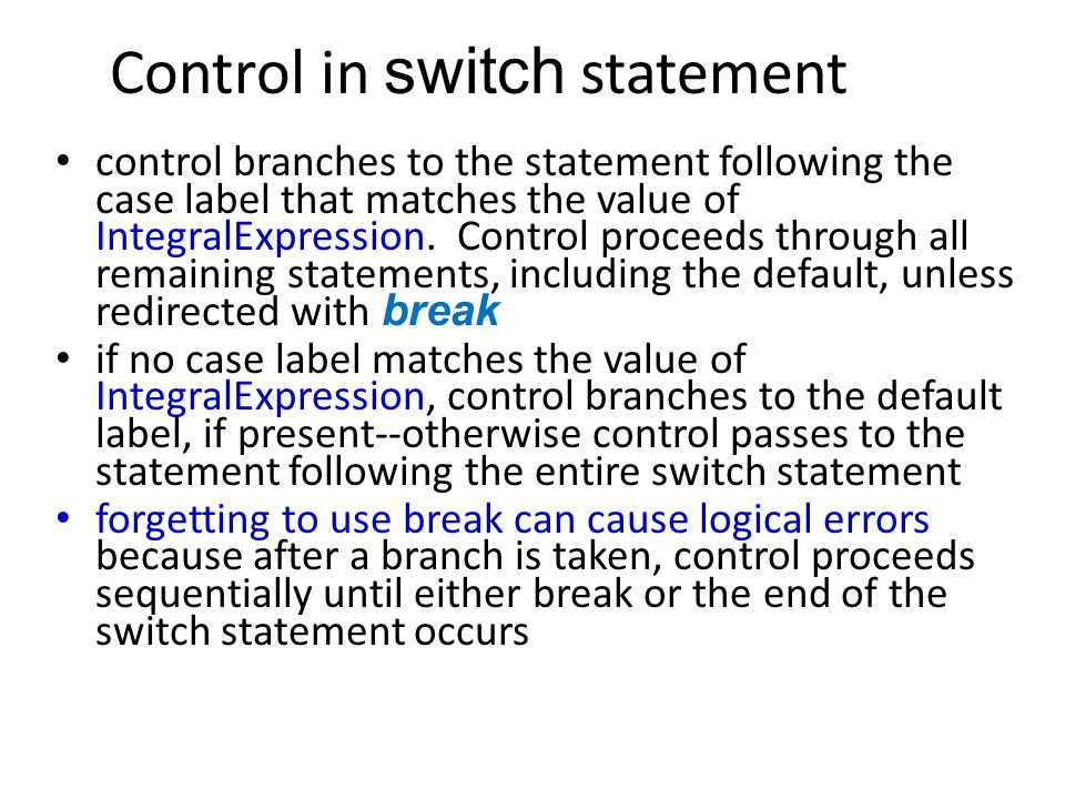 Control in switch statement