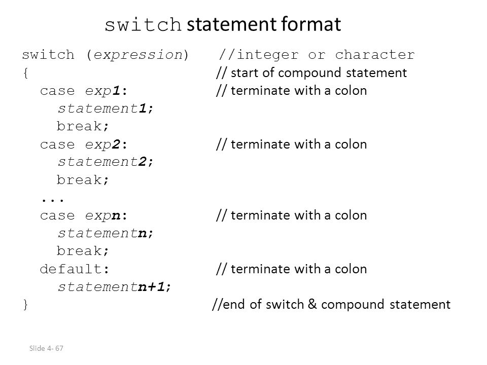 switch statement format