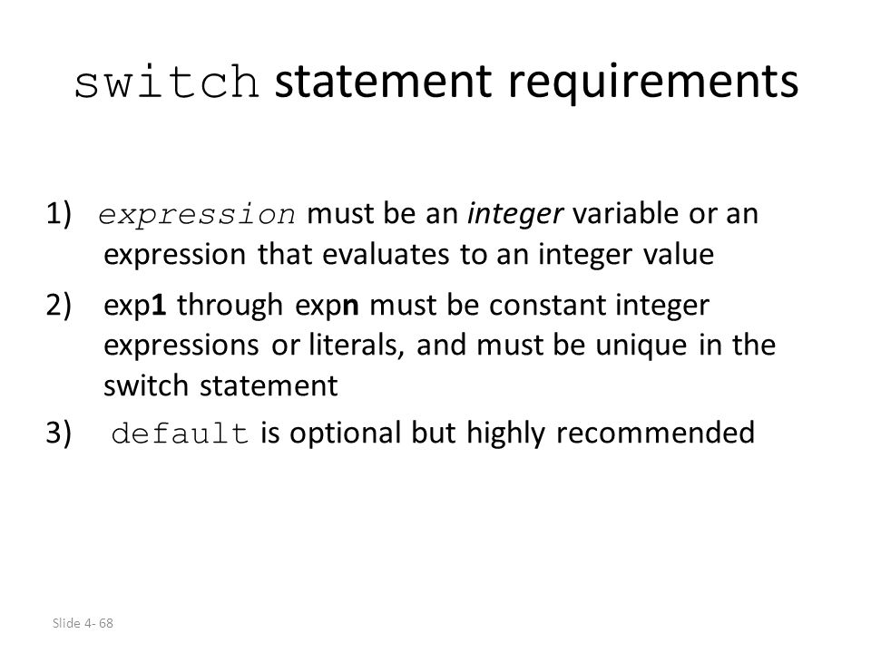 switch statement requirements
