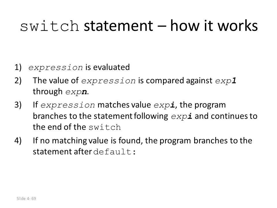 switch statement – how it works