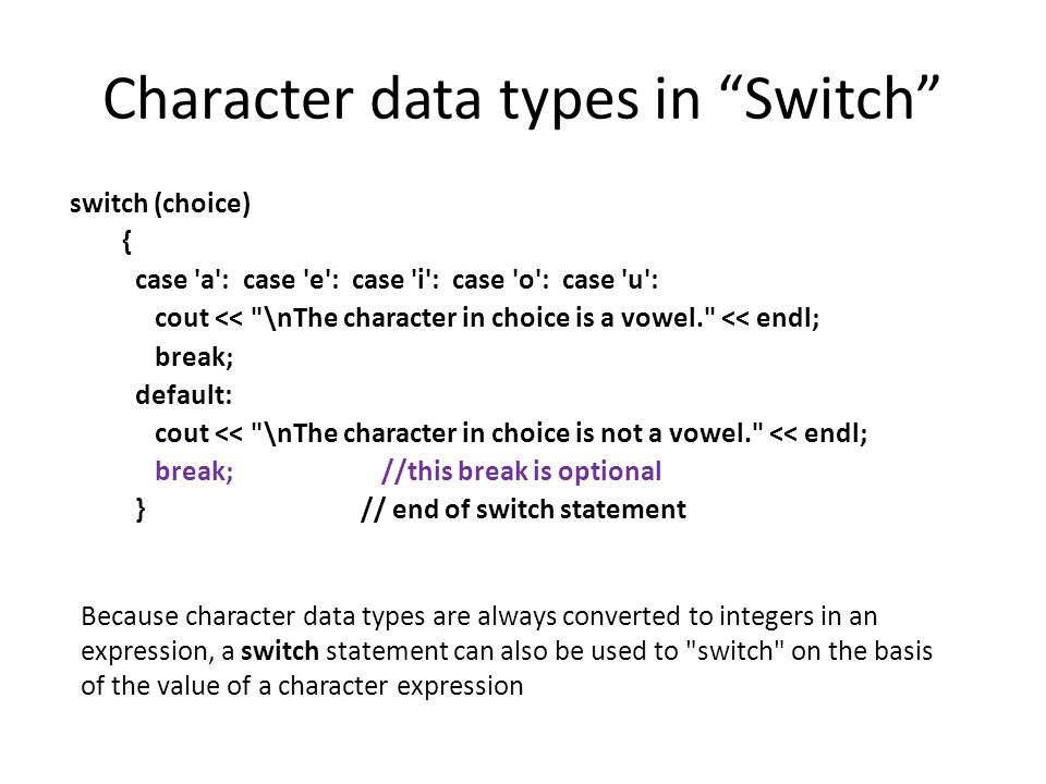 Character data types in Switch