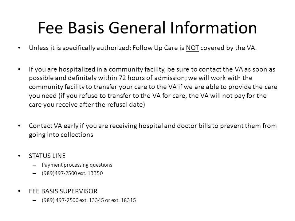 Fee Basis General Information