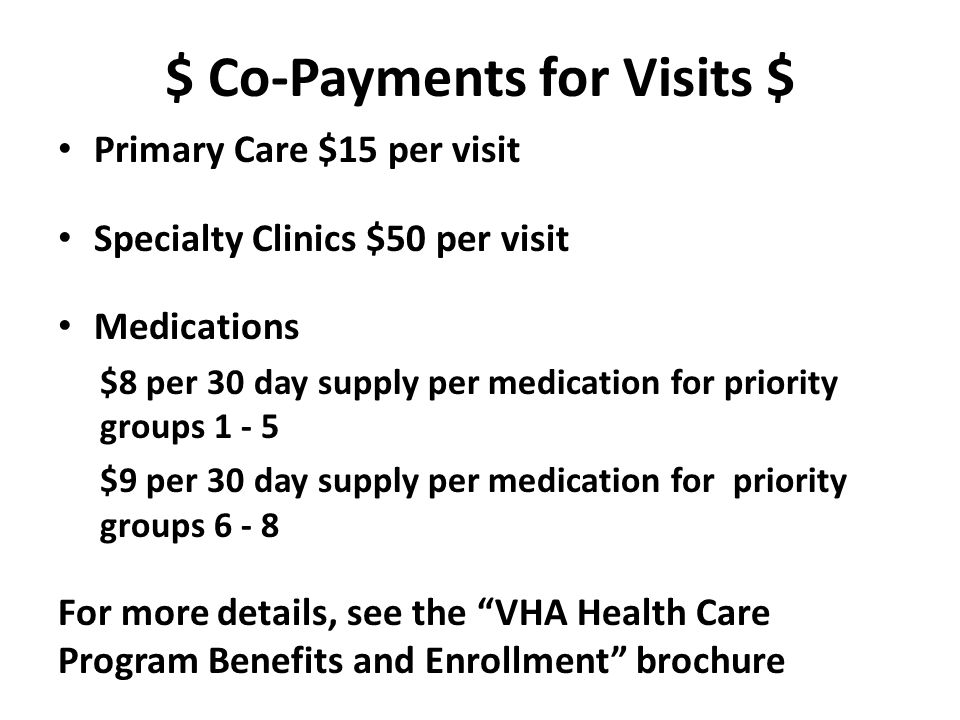 $ Co-Payments for Visits $