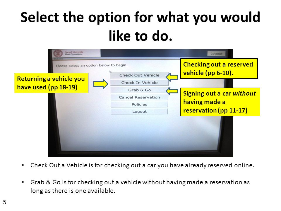 Select the option for what you would like to do.