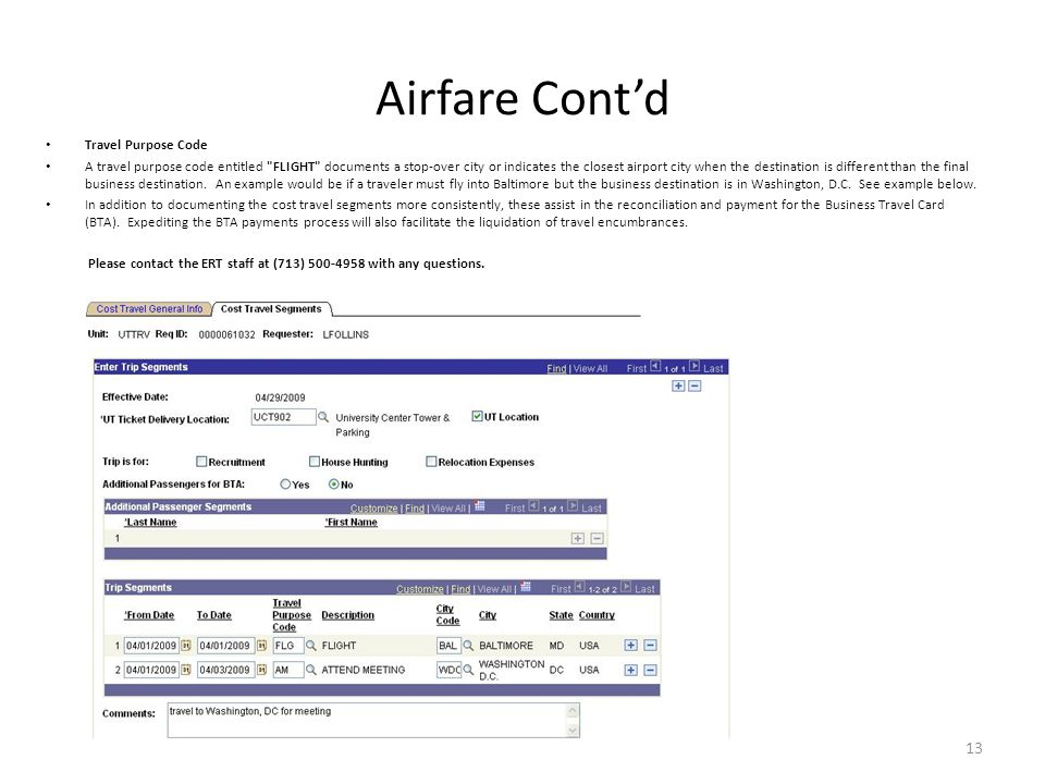 Airfare Cont'd Travel Purpose Code