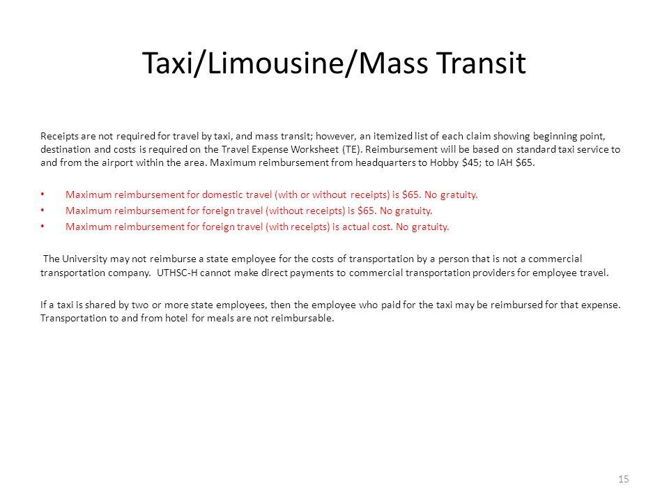 Taxi/Limousine/Mass Transit