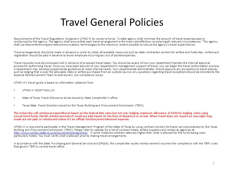Travel General Policies