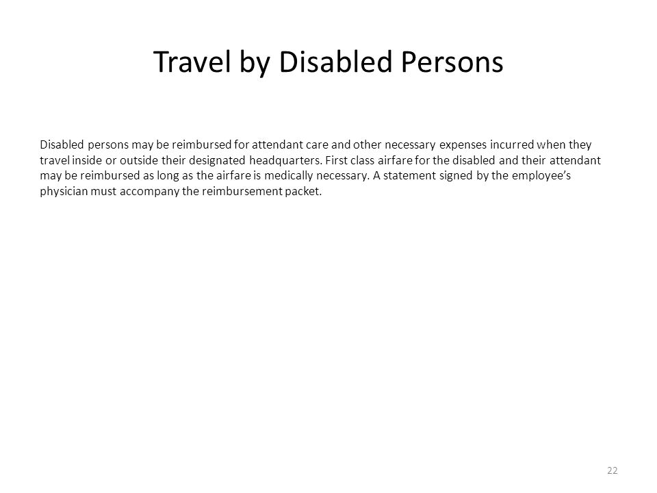 Travel by Disabled Persons