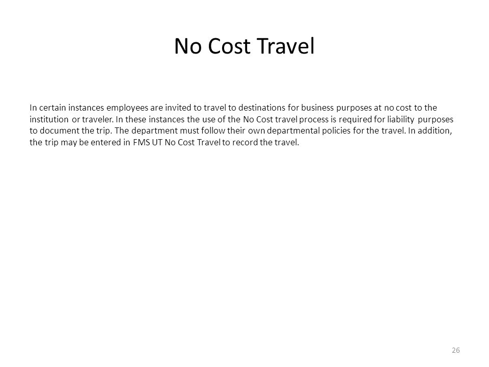 No Cost Travel