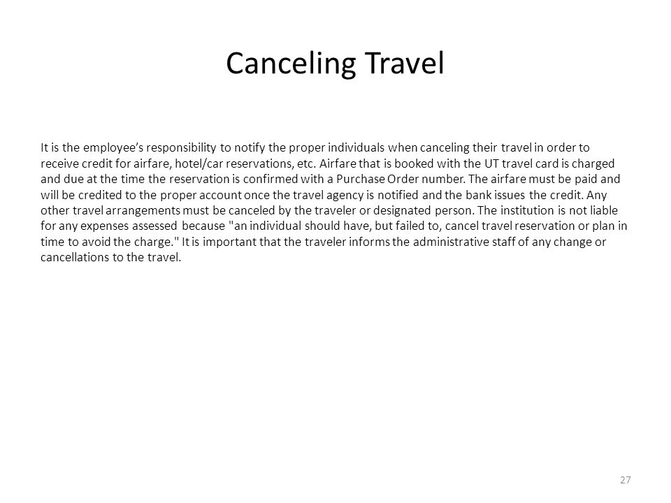 Canceling Travel