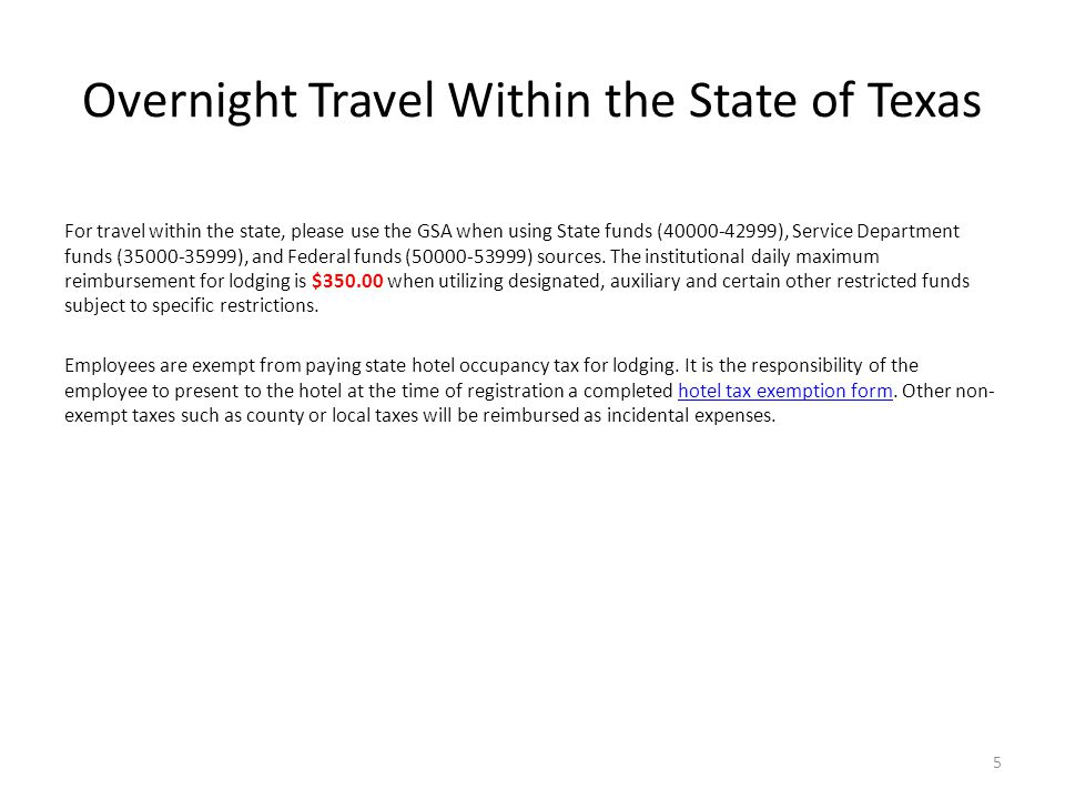 Overnight Travel Within the State of Texas