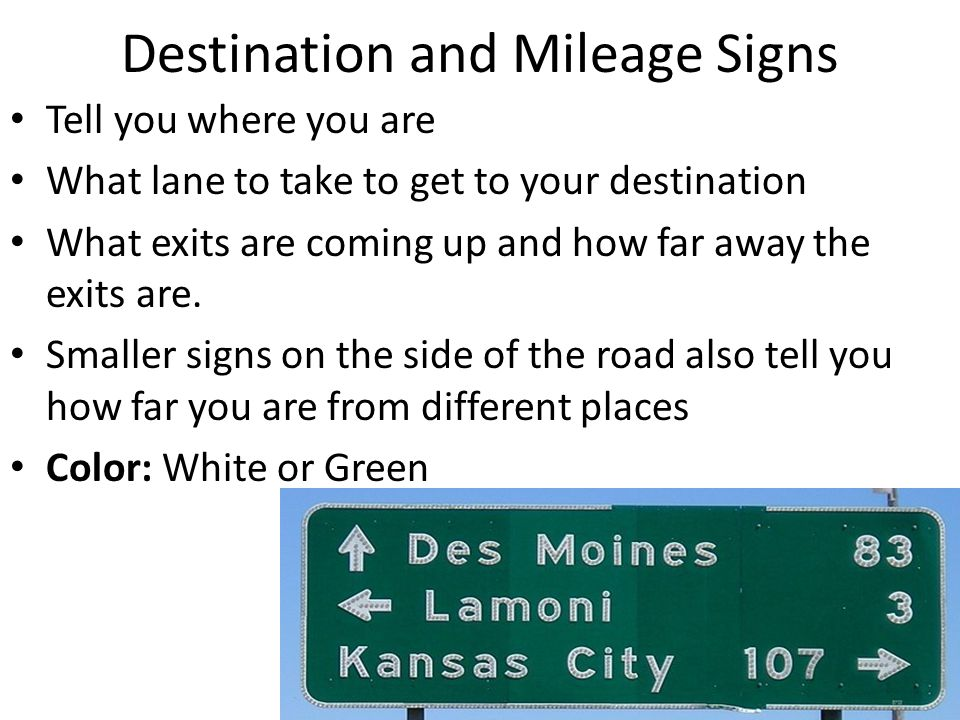 Destination and Mileage Signs