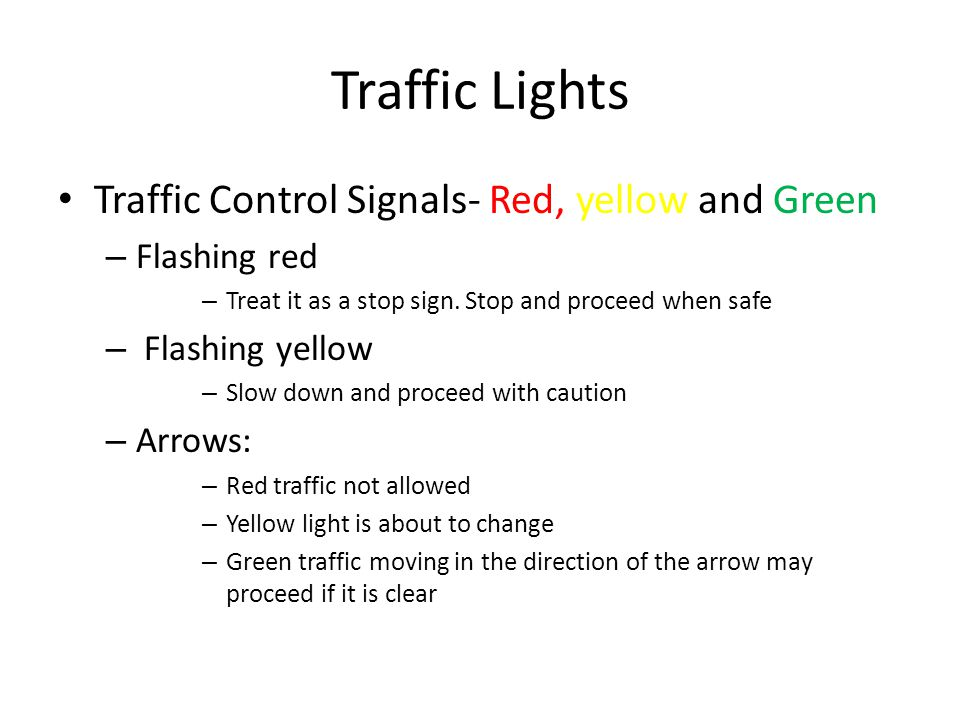 Traffic Lights Traffic Control Signals- Red, yellow and Green