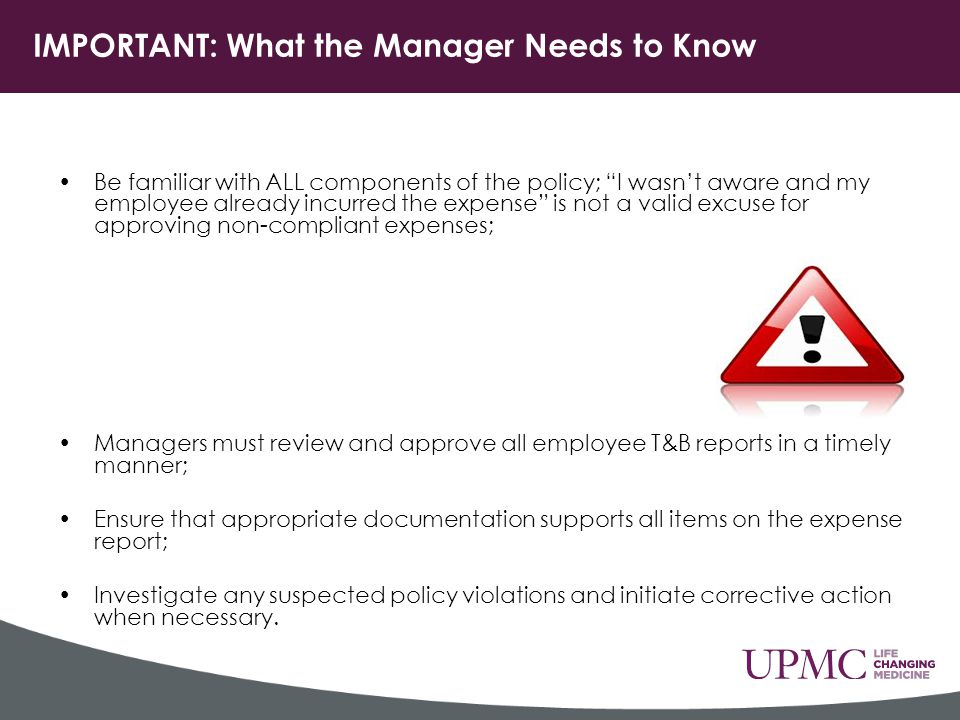 IMPORTANT: What the Manager Needs to Know