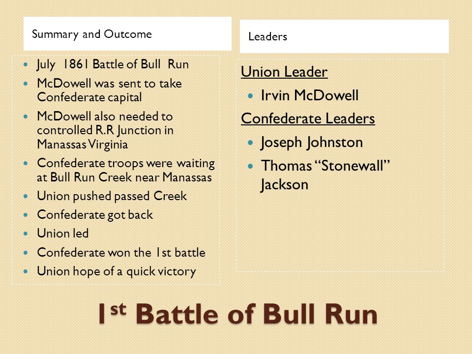 1st Battle of Bull Run Union Leader Irvin McDowell Confederate Leaders