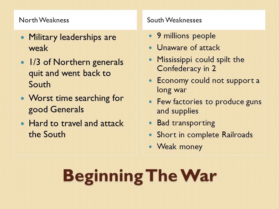 Beginning The War Military leaderships are weak