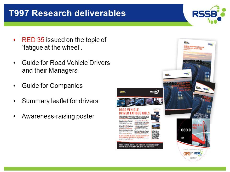 T997 Research deliverables