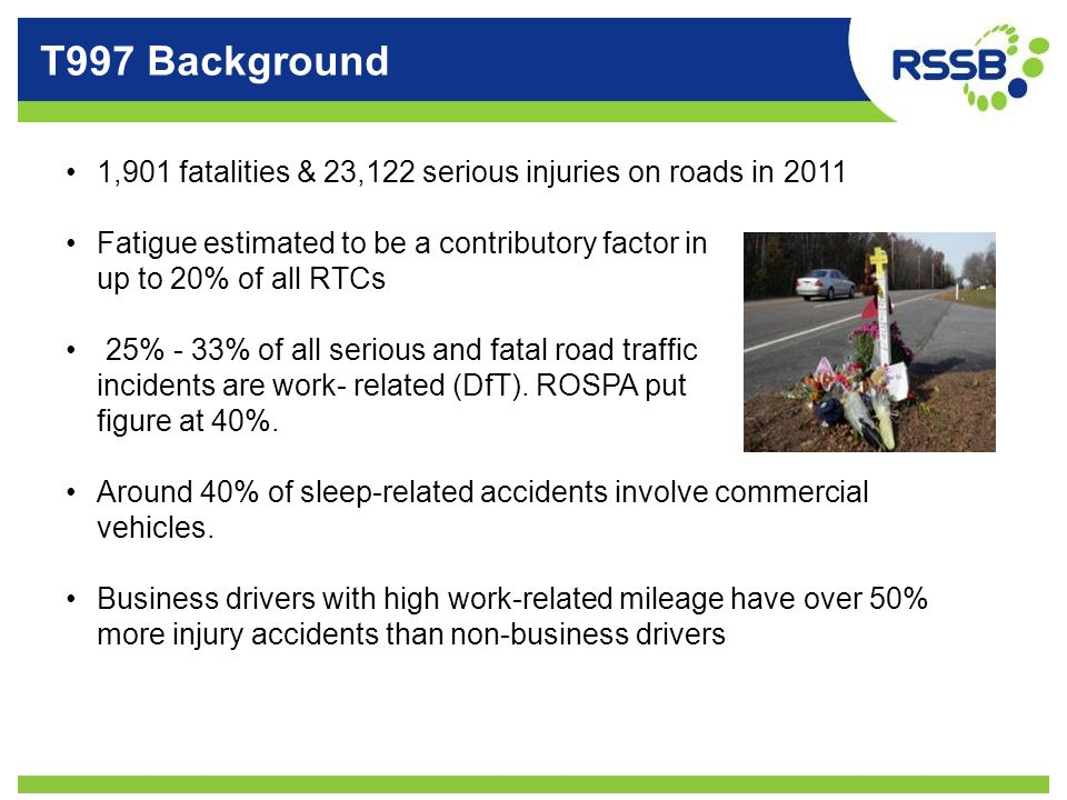 T997 Background 1,901 fatalities & 23,122 serious injuries on roads in 2011. Fatigue estimated to be a contributory factor in.