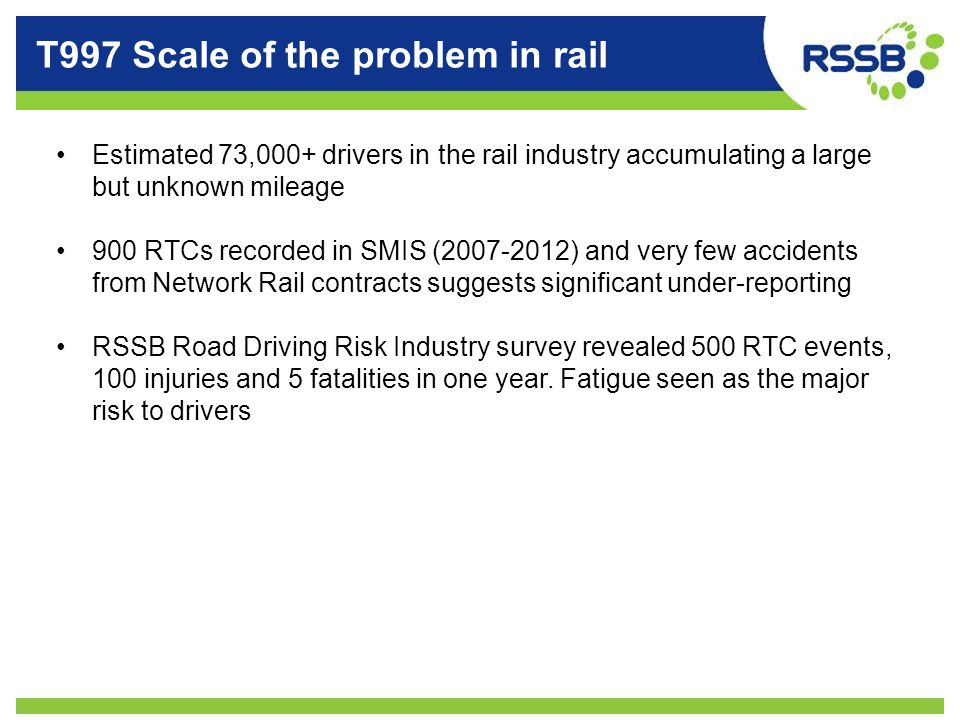 T997 Scale of the problem in rail