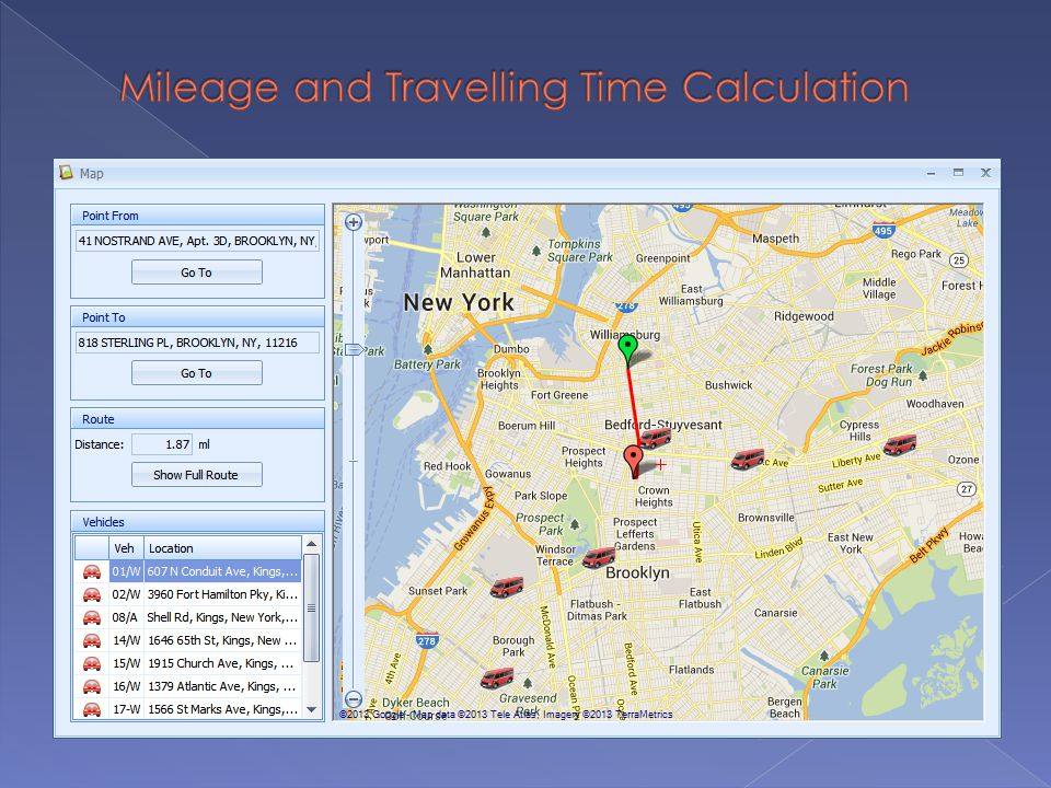 Mileage and Travelling Time Calculation