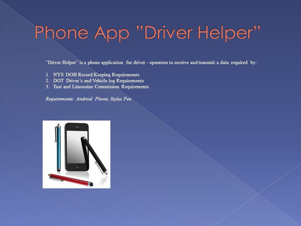 Phone App Driver Helper