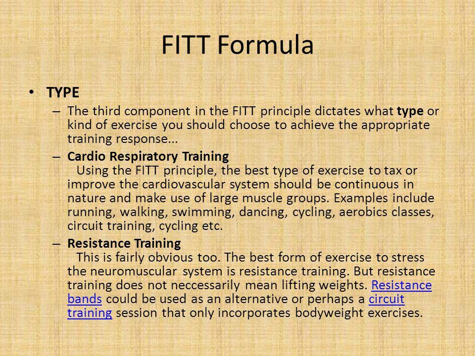 FITT Formula TYPE.