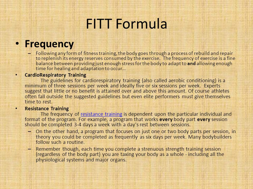 FITT Formula Frequency