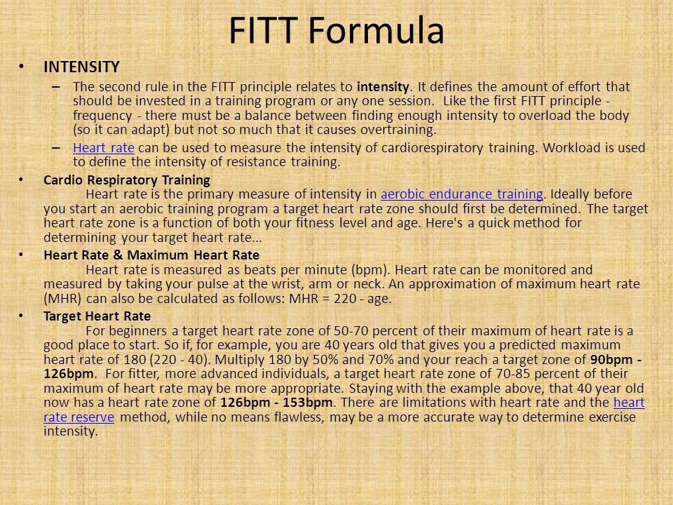 FITT Formula INTENSITY