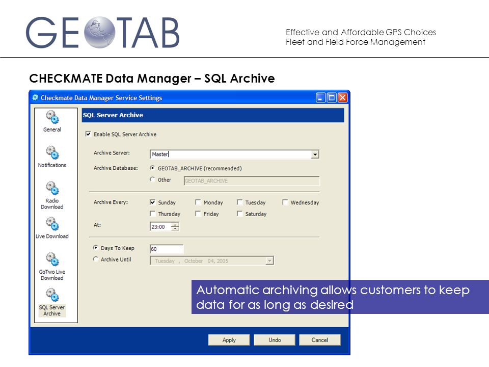 CHECKMATE Data Manager – SQL Archive
