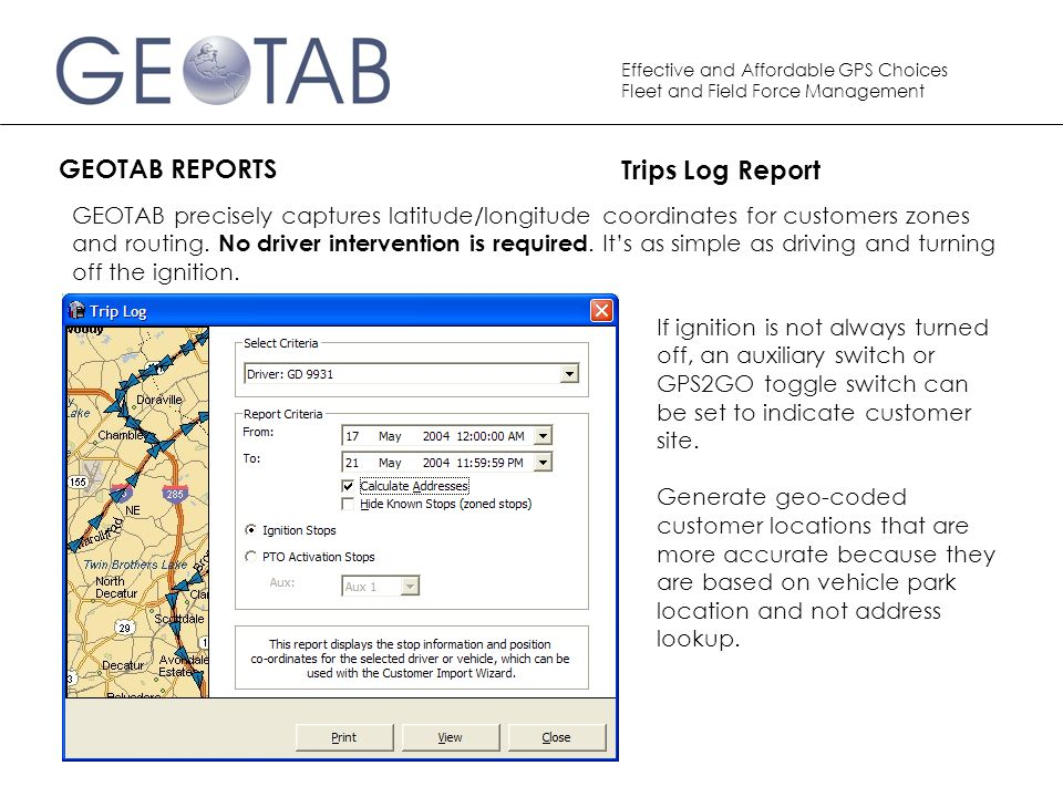 GEOTAB REPORTS Trips Log Report
