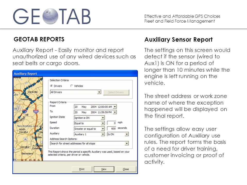 Auxiliary Sensor Report