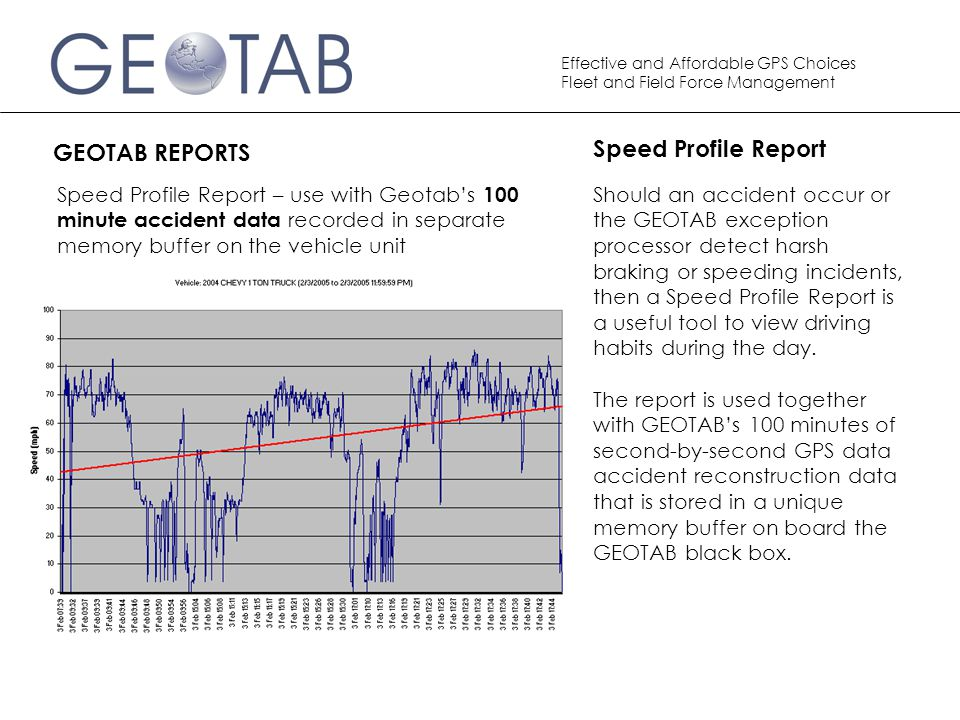 Speed Profile Report GEOTAB REPORTS