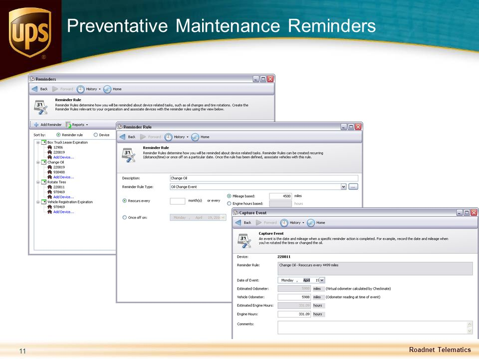 Preventative Maintenance Reminders