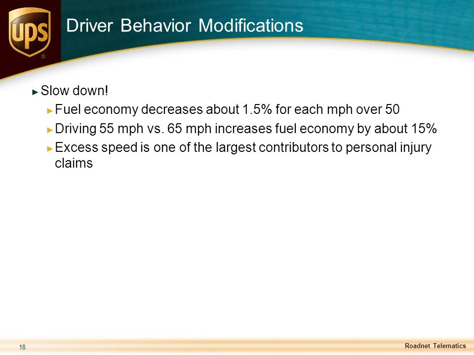Driver Behavior Modifications