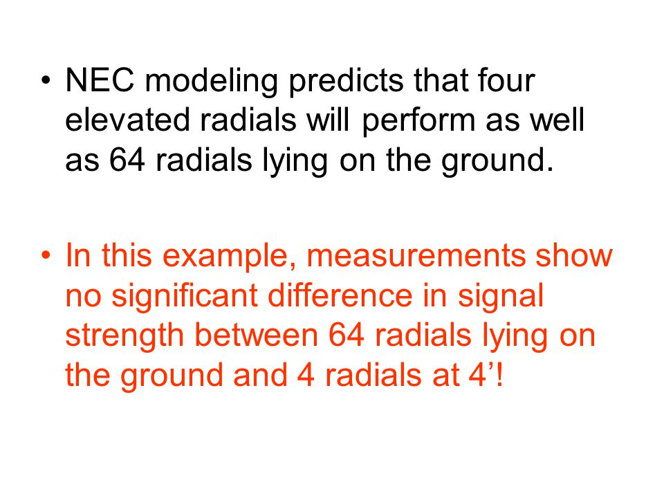 NEC modeling predicts that four elevated radials will perform as well as 64 radials lying on the ground.