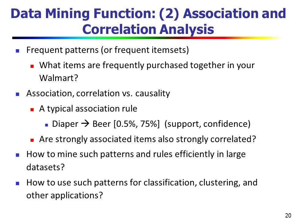 Data Mining Function: (2) Association and Correlation Analysis