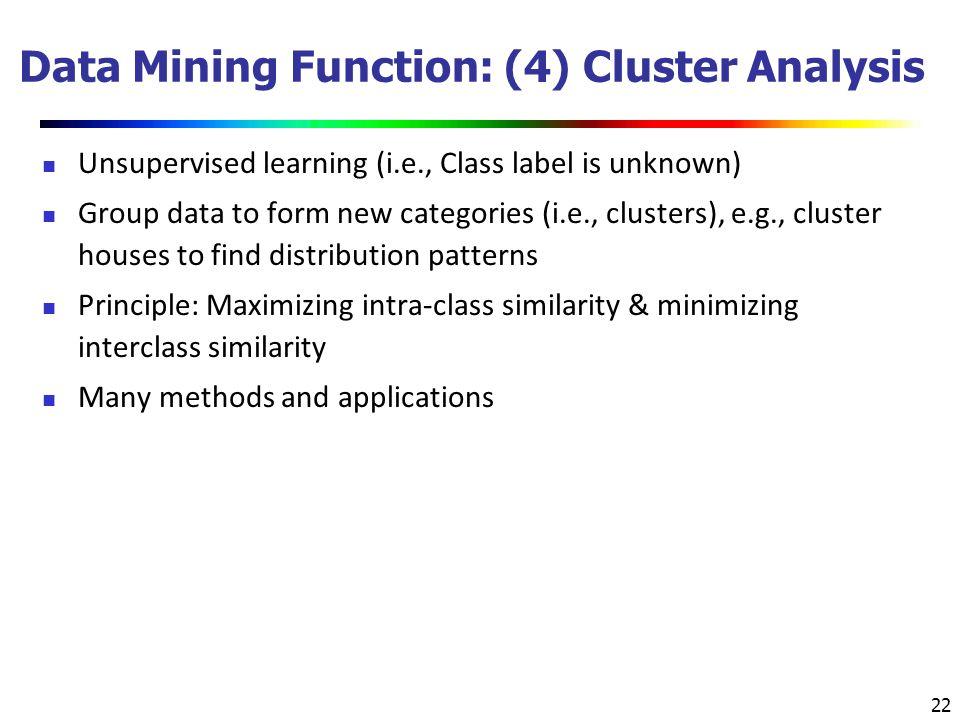 Data Mining Function: (4) Cluster Analysis