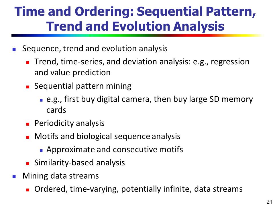 Time and Ordering: Sequential Pattern, Trend and Evolution Analysis