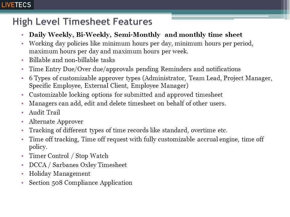 High Level Timesheet Features