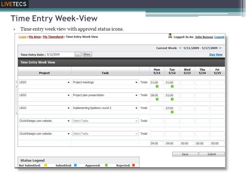 Time Entry Week-View Time entry week view with approval status icons.