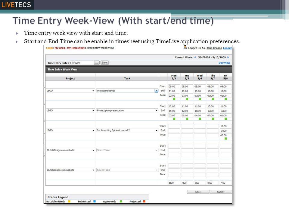 Time Entry Week-View (With start/end time)