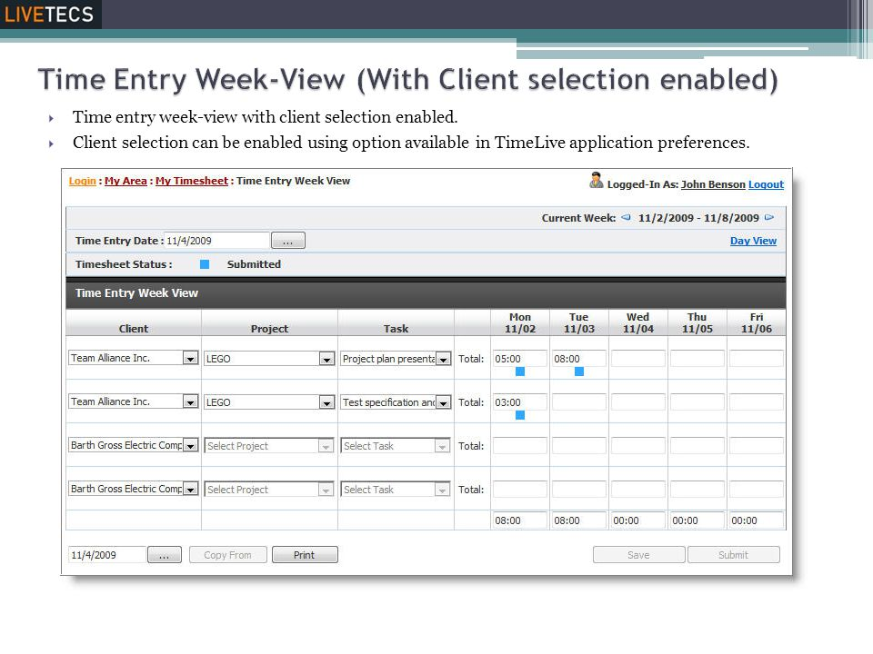 Time Entry Week-View (With Client selection enabled)