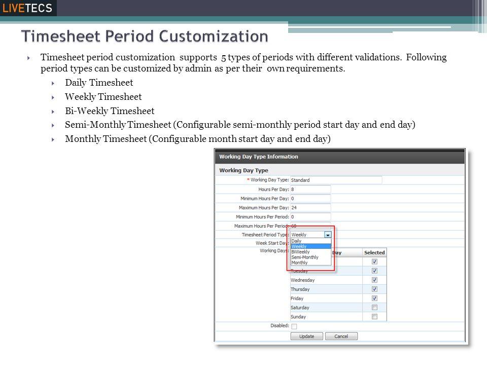 Timesheet Period Customization