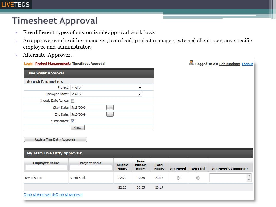 Timesheet Approval Five different types of customizable approval workflows.