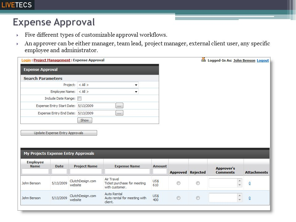 Expense Approval Five different types of customizable approval workflows.