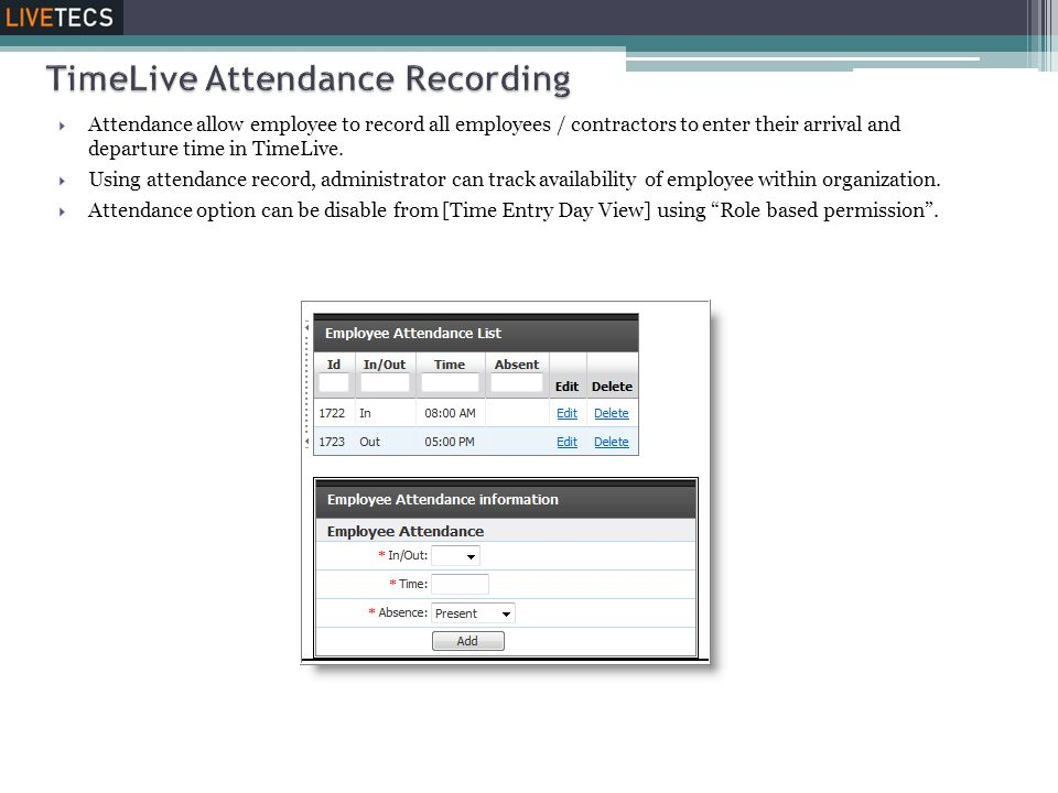TimeLive Attendance Recording