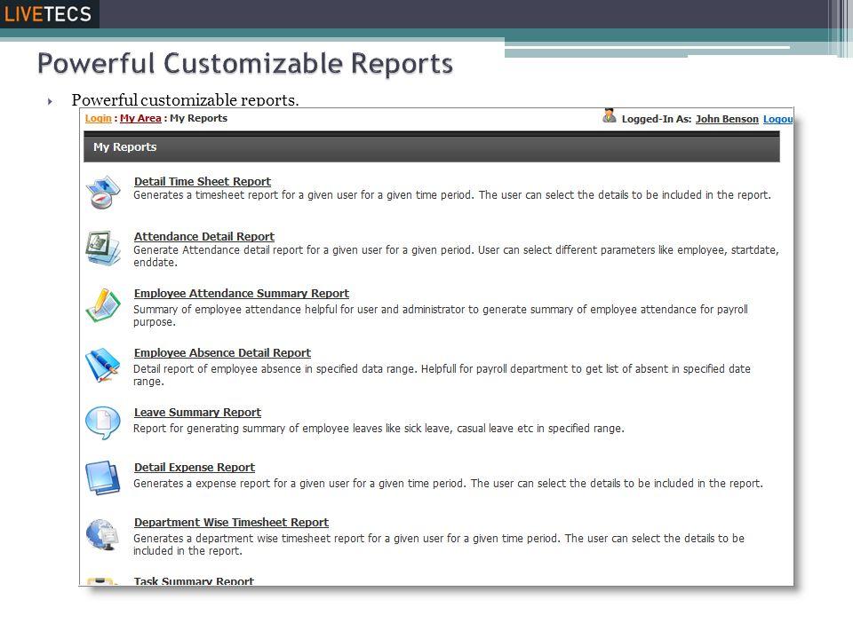 Powerful Customizable Reports