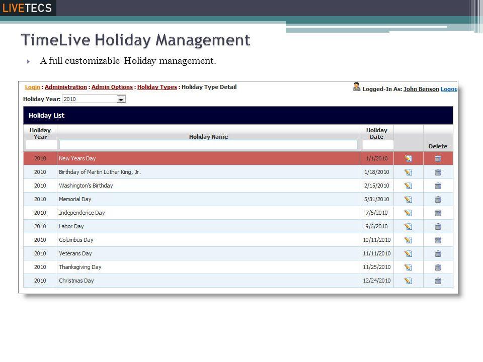 TimeLive Holiday Management